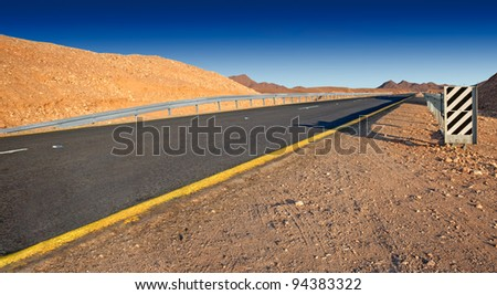 Desert highway  (Israel - Judean desert) - stock photo