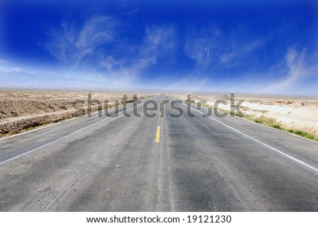 Desert Highway:Road travelling through a desert Field(3) - stock photo
