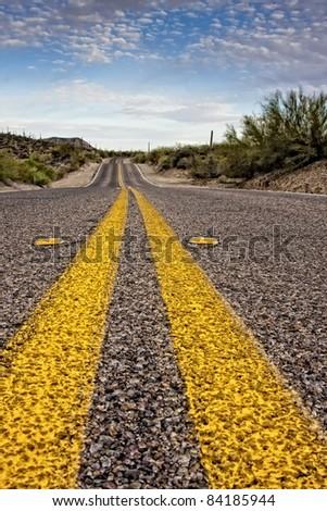 Desert highway through Gates Pass. Tucson Mountain County Park in Saguaro National Park - stock photo