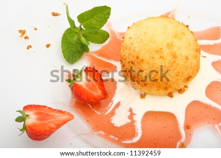 desert ice cream and strawberry - stock photo
