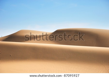 Desert in Hasi Labied, Moroco, Africa. Interesting colored sand dunes. Popular travel destination. - stock photo