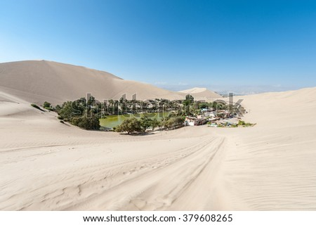 Desert in Huacachina and oasis.  - stock photo