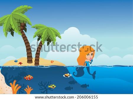 Desert Island and mermaid background.  - stock photo