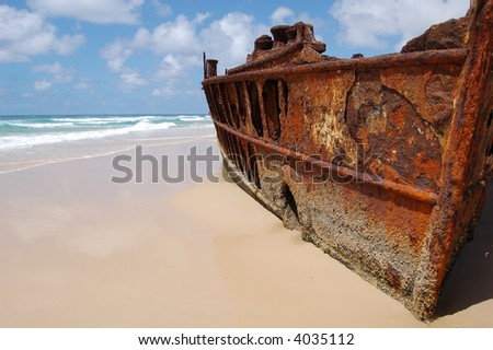 Desert Island Ship Wreck - stock photo
