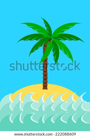Desert island with palm tree  illustration - stock photo