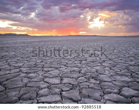 Desert Lakebed Sunset - stock photo