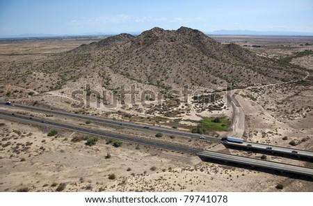 Desert landscape along Interstate 10 in Arizona - stock photo