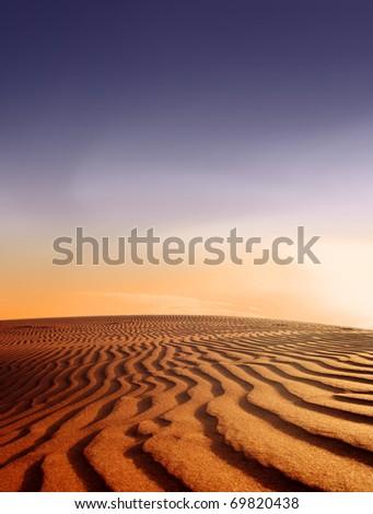 Desert landscape at sunset - nature background - sand dune - stock photo