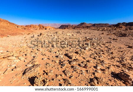 Desert landscape at Timna National Park in Israel