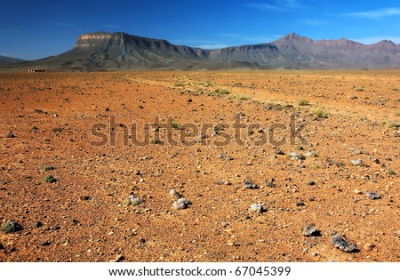 Desert landscape in Atlas Mountains, Morocco, Africa - stock photo