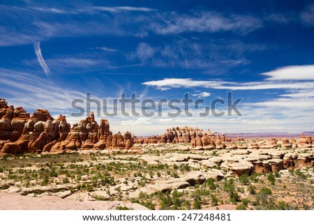 Desert landscape in Canyonlands National Park in Utah - stock photo
