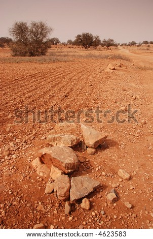Desert landscape in Morocco - stock photo
