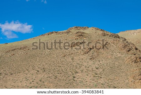 Desert landscape in mountain steppes in the summer