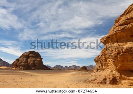 Desert landscape in the Akakus (Acacus) Mountains, Sahara, Libya - stock photo