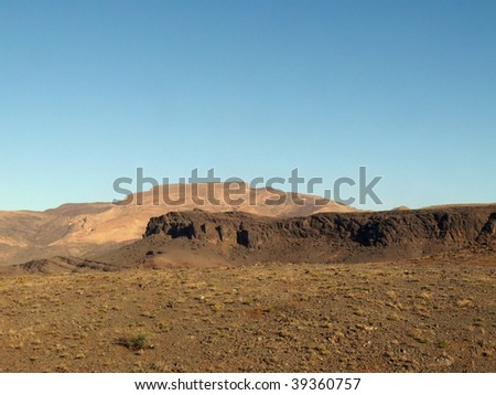 Desert landscape in the autonomous region of Western Sahara, Morocco - stock photo