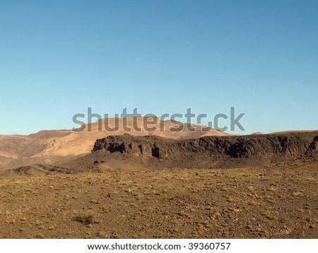 Desert landscape in the autonomous region of Western Sahara, Morocco - stock photo
