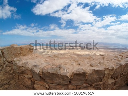 Desert landscape near the Dead Sea seen from Masada fortress - stock photo
