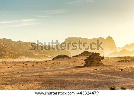 Desert Landscape of Wadi Rum in Jordan, with a sunset, stones, bushes and the sky.