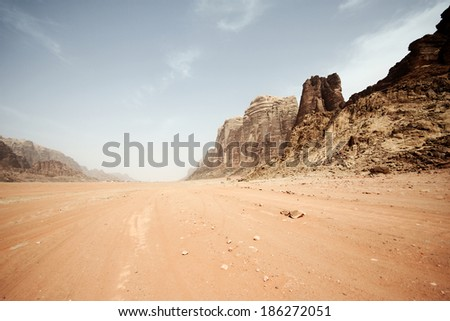 Desert landscape - Wadi Rum, Jordan - stock photo
