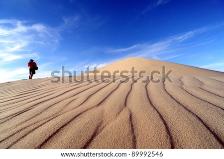 Desert landscape with hiker - stock photo