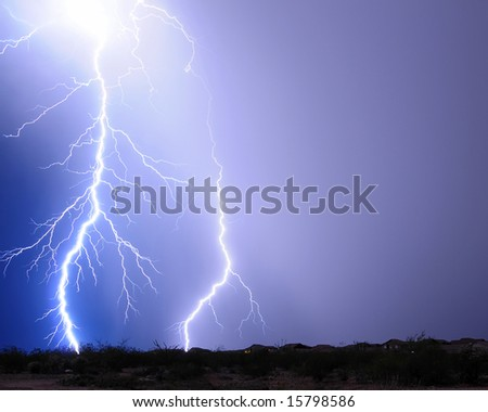 Desert Lightning - stock photo