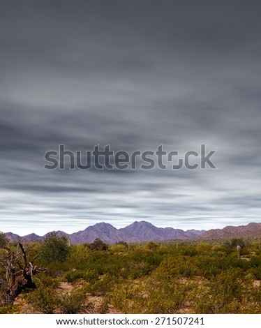 Desert moon over the southwestern USA Sonora desert and mountains - stock photo