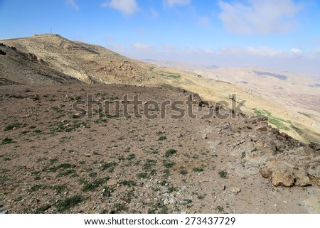 desert mountain landscape (aerial view), Jordan, Middle East - stock photo