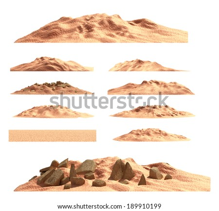 Desert mountain set , isolated - stock photo