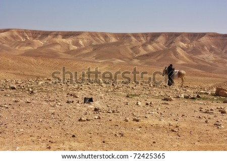 Desert mountains with a man and a donkey - stock photo