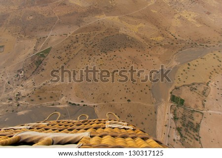 Desert near Marrakech aerial view from balloon - stock photo