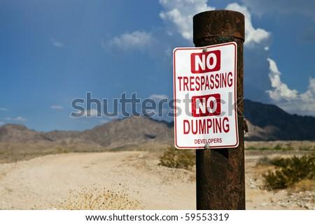 Desert No Trespassing Sign - stock photo