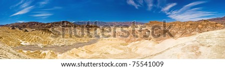 Desert Panorama - Dynamic rock formations at Zabriskie Point in Death Valley - stock photo