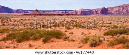 Desert Panorama in Monument Valley Tribal Park, Arizona. - stock photo