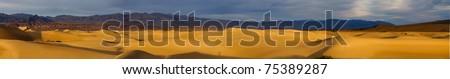 Desert panorama of Mesquite dunes, Death Valley, California - stock photo