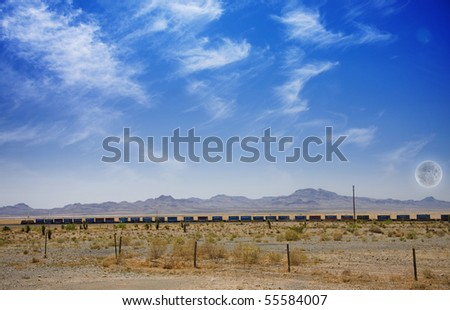 Desert Panorama with Train - stock photo