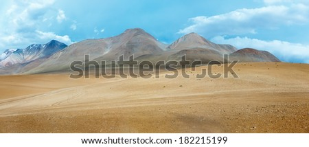 Desert plateau of the Altiplano (panorama), Bolivia - stock photo