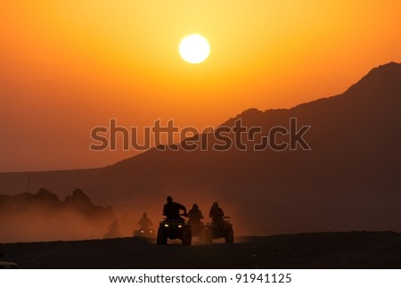 Desert quad in the sunset, Sharm-el-Sheikh, Sinai desert