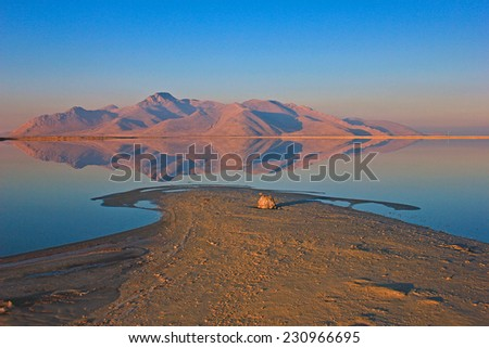Desert reflection at the Great Salt Lake, Utah, USA. - stock photo