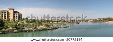 Desert Resort Community With Lake - stock photo