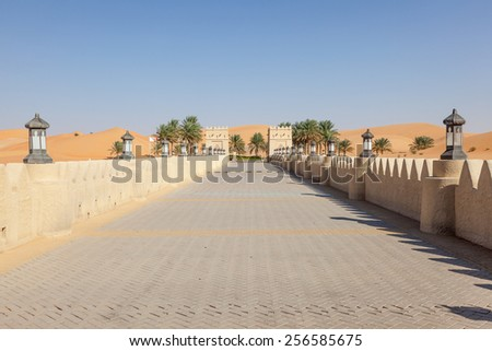 Desert resort in the Emirate of Abu Dhabi, United Arab Emirates - stock photo
