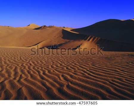 Desert ripples (wind art) - stock photo
