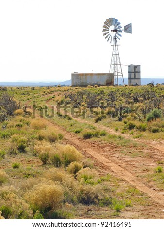 desert road and windmill