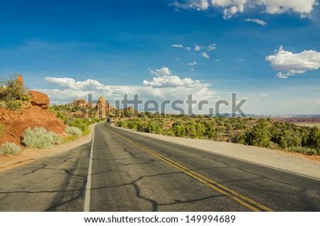 Desert Road at Sunset - stock photo