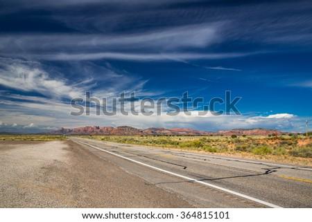 Desert road in Utah, USA. - stock photo