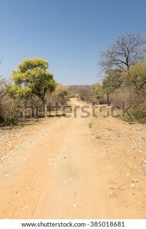 Desert road under a hot sun in rural Botswana, Africa - stock photo