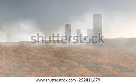 desert ruins landscape - stock photo