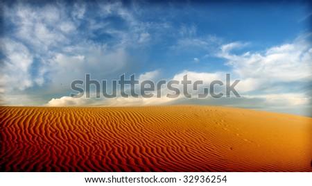 desert sahara panorama - stock photo