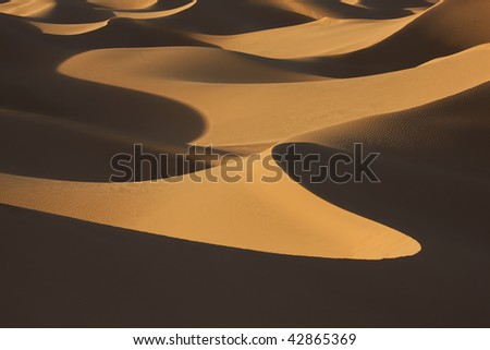 desert sand dunes in evening light with shadows - stock photo