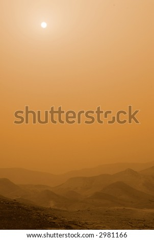 Desert sandstorm - stock photo