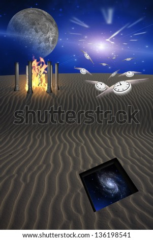 Desert Scene with Opening in the Sands Revealing Galaxy While Time Passses Into the Unknown - stock photo